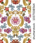 seamless pattern with vintage... | Shutterstock .eps vector #1037038564