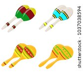 maracas  a set of colorful... | Shutterstock .eps vector #1037038594