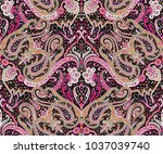 paisley  pattern with  black... | Shutterstock . vector #1037039740
