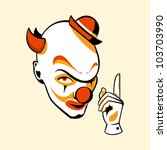 Clown head and hand in three color print halftone pattern - stock vector