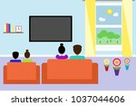 family sitting on sofa front of ...   Shutterstock .eps vector #1037044606
