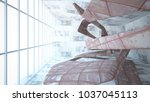 empty smooth abstract room... | Shutterstock . vector #1037045113
