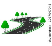vector image of a curved road... | Shutterstock .eps vector #1037047048