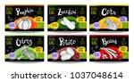 set colorful food labels ... | Shutterstock .eps vector #1037048614
