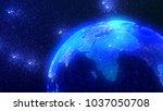 futuristic digital earth.... | Shutterstock . vector #1037050708