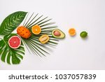 creative tropical layout. palm... | Shutterstock . vector #1037057839