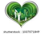 paper art of the world... | Shutterstock .eps vector #1037071849