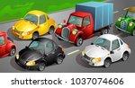 traffic jam. set of colored... | Shutterstock .eps vector #1037074606