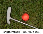 orange golf ball and putter on... | Shutterstock . vector #1037075158