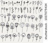 set of simple doodles of... | Shutterstock .eps vector #1037075434