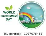 paper art of the world... | Shutterstock .eps vector #1037075458