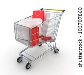 gift buying. shopping cart full ... | Shutterstock . vector #103707860