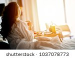 Stock photo breakfast in bed cozy hotel room concept 1037078773
