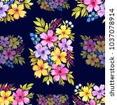 watercolor floral seamless... | Shutterstock . vector #1037078914