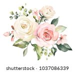 Stock photo  watercolor flowers floral illustration leaf and buds botanic composition for wedding or 1037086339