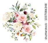 watercolor flowers. floral... | Shutterstock . vector #1037086348