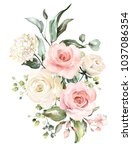 Stock photo  watercolor flowers floral illustration leaf and buds botanic composition for wedding or 1037086354
