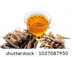 ayurvedic herb liquorice root... | Shutterstock . vector #1037087950