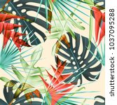 seamless tropical leaves and... | Shutterstock . vector #1037095288