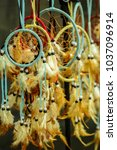 Small photo of Handmade, native american dream catchers, exposed for sale.