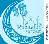 ramadan kareem greeting card   Shutterstock .eps vector #1037097490