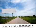 blank billboard on the sideway... | Shutterstock . vector #1037098810