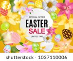 happy easter cute sale poster ... | Shutterstock .eps vector #1037110006