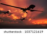 three military drones... | Shutterstock . vector #1037121619