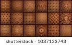 set of islamic oriental... | Shutterstock .eps vector #1037123743