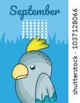 cute parakeet calendar cartoon | Shutterstock .eps vector #1037128066