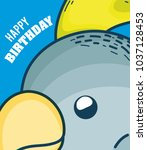 happy birthday to you parakeet... | Shutterstock .eps vector #1037128453