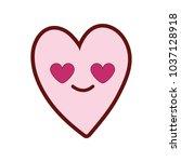 line color cute in love heart... | Shutterstock .eps vector #1037128918