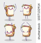fast food collection kawaii... | Shutterstock .eps vector #1037132914