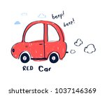 hand drawing red car... | Shutterstock .eps vector #1037146369