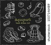 aquapark hand drawn doodle set. ... | Shutterstock .eps vector #1037146489