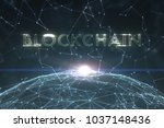 green colored blockchain word...   Shutterstock . vector #1037148436