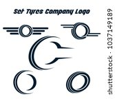 set of tyre logo shop icons ... | Shutterstock .eps vector #1037149189