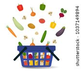 vegetables falling into the... | Shutterstock .eps vector #1037149894