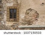 old window in aged brick... | Shutterstock . vector #1037150533