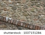 brick wall from tuscan medieval ... | Shutterstock . vector #1037151286