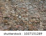 brick wall from tuscan medieval ... | Shutterstock . vector #1037151289