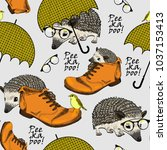 vector seamless pattern with... | Shutterstock .eps vector #1037153413