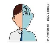 half man half robot character   Shutterstock .eps vector #1037158888