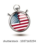 stopwatch concept   usa flag as ... | Shutterstock .eps vector #1037165254