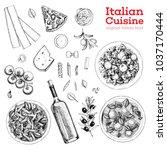 italian cuisine sketch. a set... | Shutterstock .eps vector #1037170444