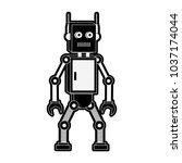 funny robot cartoon | Shutterstock .eps vector #1037174044