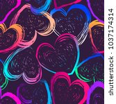 abstract seamless hearts... | Shutterstock .eps vector #1037174314
