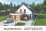 modern low energy suburban... | Shutterstock . vector #1037183110