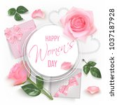 white round banner with pink... | Shutterstock .eps vector #1037187928