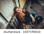 hipster punk sexy girl in old... | Shutterstock . vector #1037190010
